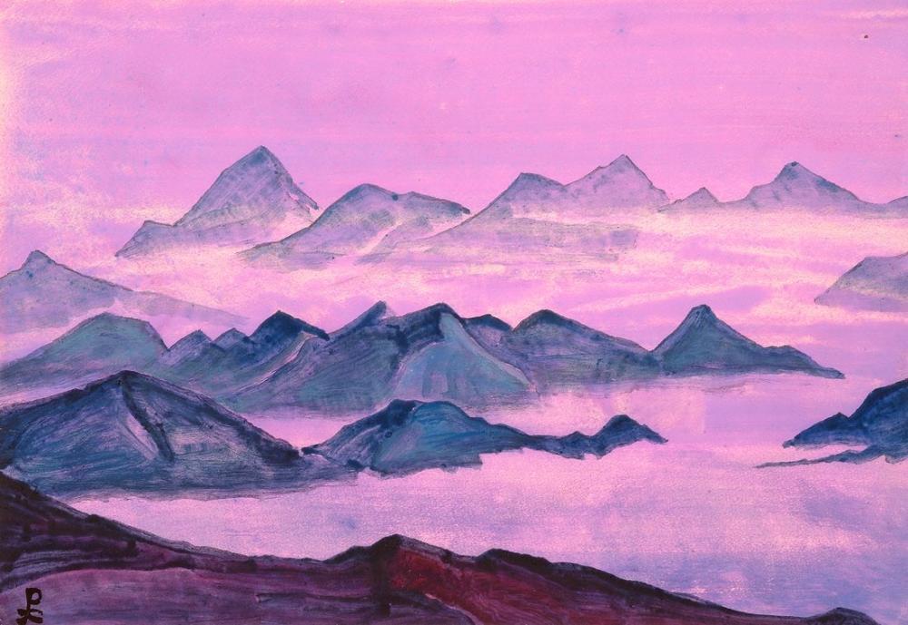 Nicholas Roerich, Himalayalar Kutsal Himalayaları Çalışıyor, Kanvas Tablo, Nicholas Roerich, kanvas tablo, canvas print sales