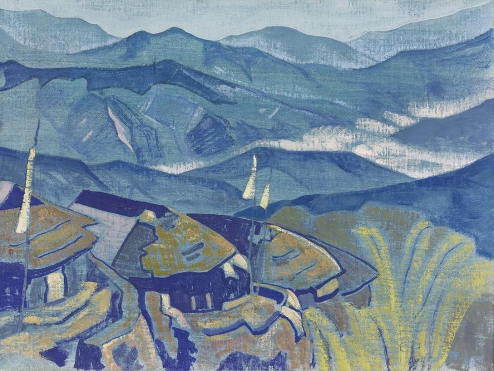 Nicholas Roerich, Himalaya Serisinden Köy, Kanvas Tablo, Nicholas Roerich, kanvas tablo, canvas print sales