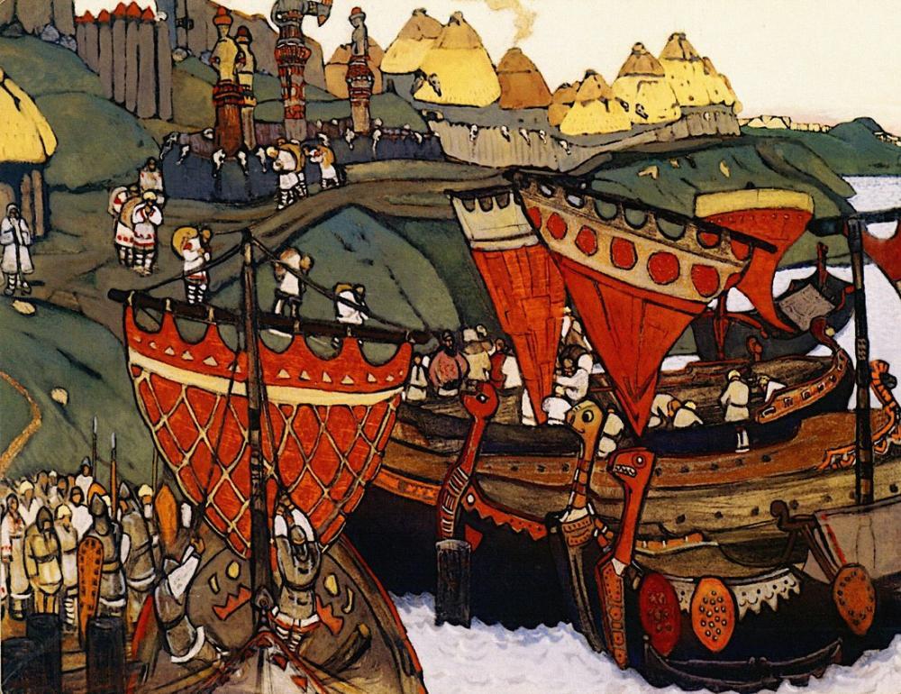 Nicholas Roerich, Dinyeper deki Eski Ruslar, Kanvas Tablo, Nicholas Roerich, kanvas tablo, canvas print sales