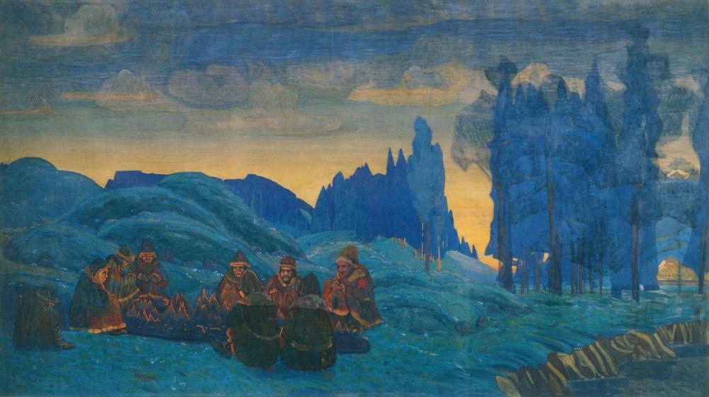 Nicholas Roerich, Pomeranyalılar, Akşam, Figür, Nicholas Roerich, kanvas tablo, canvas print sales