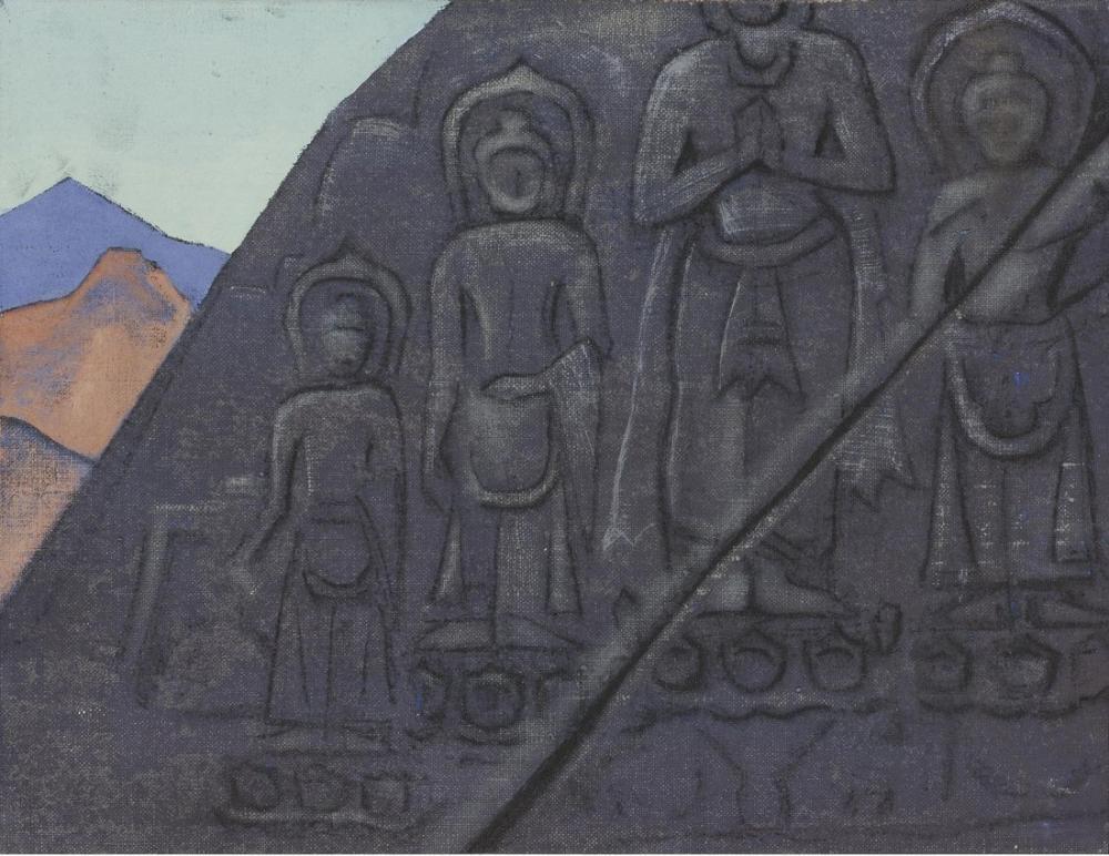 Nicholas Roerich, Rock Relief Of Buddha, Figure, Nicholas Roerich, kanvas tablo, canvas print sales