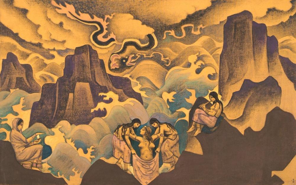 Nicholas Roerich, Bilgeliğin Yılanı, Figür, Nicholas Roerich, kanvas tablo, canvas print sales