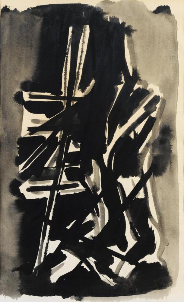Nicolas De Stael Siyah Çizgiler Kompozisyon, Kanvas Tablo, Nicolas de Staël, nds15