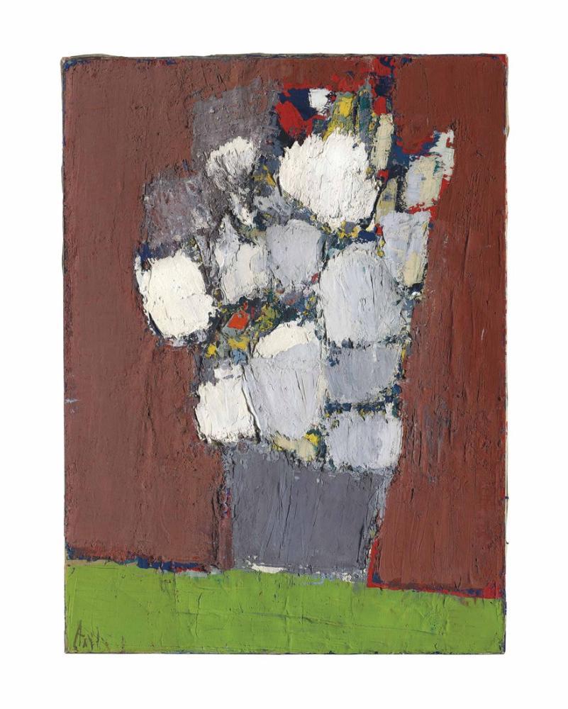 Nicolas De Stael Gri Bir Vazoda Beyaz Ve Kırmızı Çiçekler, Kanvas Tablo, Nicolas de Staël, kanvas tablo, canvas print sales