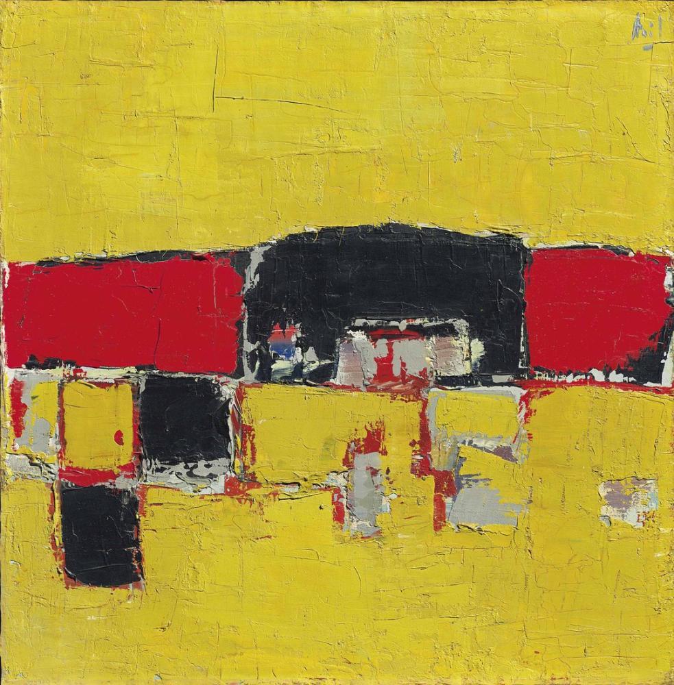 Nicolas De Stael Sarı Zemin Üzerine Kırmızı Ve Siyah Kompozisyon, Kanvas Tablo, Nicolas de Staël, nds52