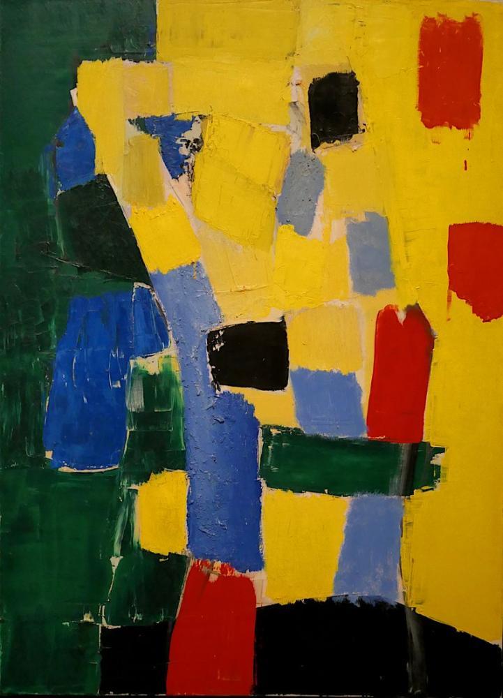 Nicolas De Stael Sarı Ve Yeşil İle Kompozisyon, Kanvas Tablo, Nicolas de Staël, nds97