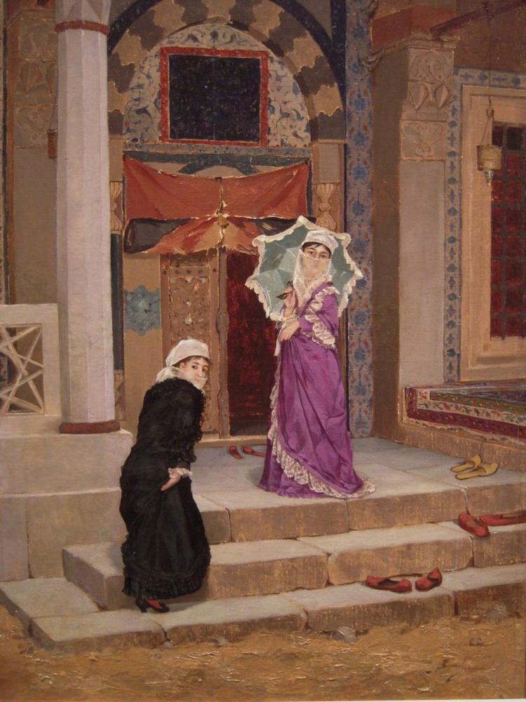 Türbe Kapısı Önünde İki Genç Kadın, Osman Hamdi Bey, Kanvas Tablo, Osman Hamdi Bey, kanvas tablo, canvas print sales