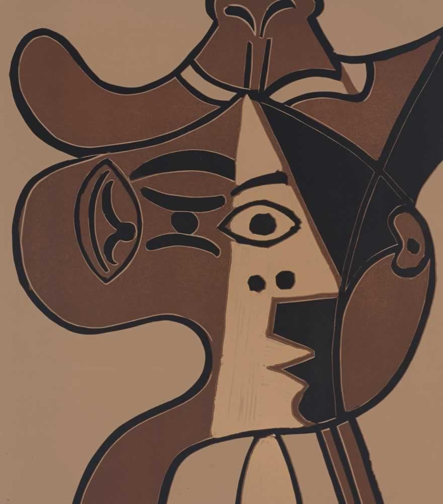 Pablo Picasso Big Head of Woman in Hat, Kanvas Tablo, Pablo Picasso, kanvas tablo, canvas print sales