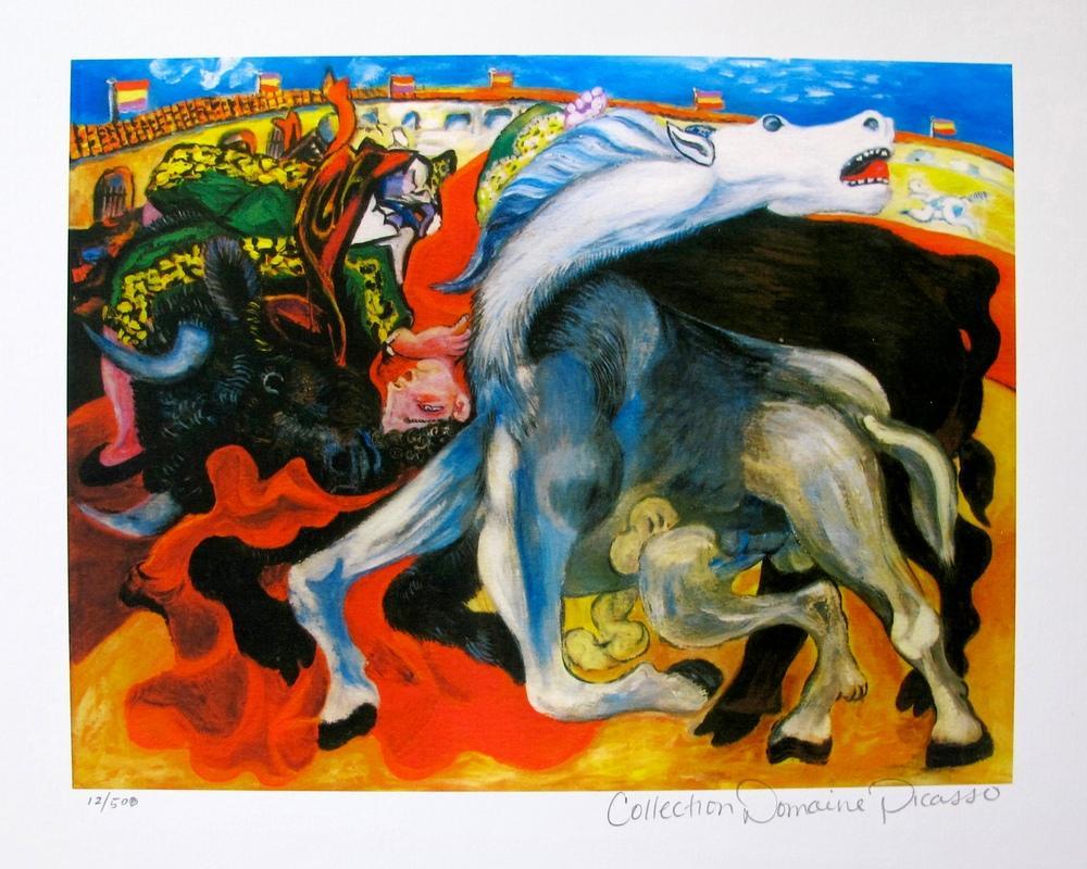 Pablo Picasso Bull Fight. Death of Toreador, Figure, Pablo Picasso, kanvas tablo, canvas print sales