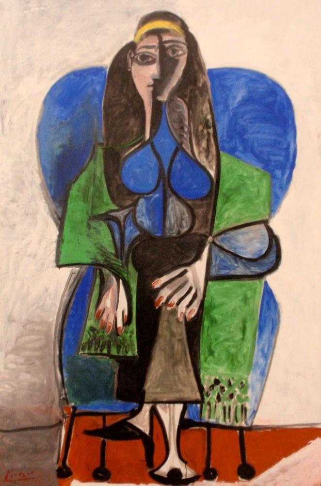 Pablo Picasso Yeşil Şallı Oturan Kadın, Figür, Pablo Picasso, kanvas tablo, canvas print sales