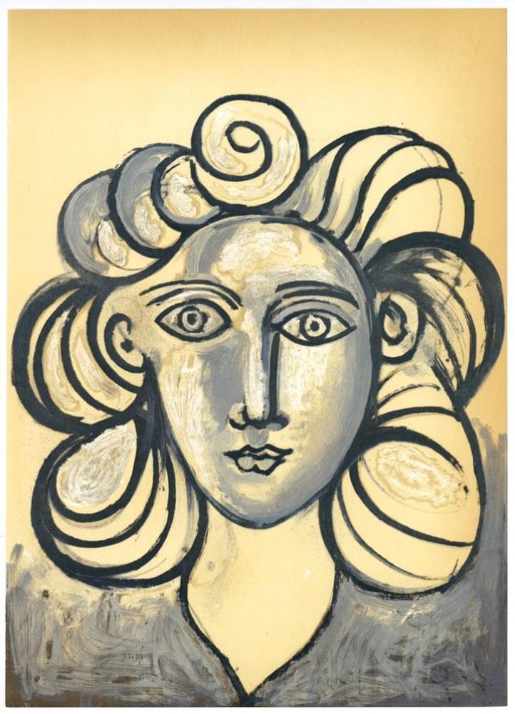Pablo Picasso Lithograph Portrait of a Woman Francoise Gilot, Canvas, Pablo Picasso, kanvas tablo, canvas print sales