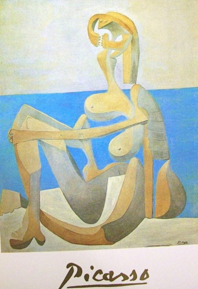 Pablo Picasso Nude Seated on Beach, Figure, Pablo Picasso, kanvas tablo, canvas print sales
