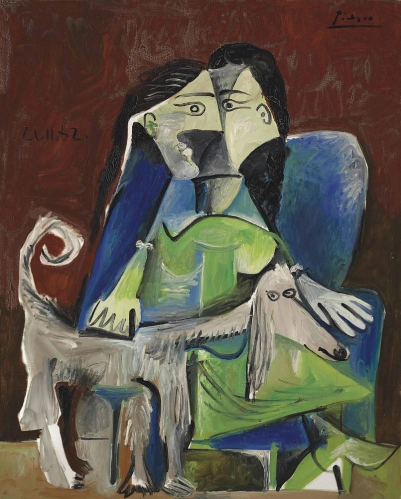 Pablo Picasso Köpekli Kadın, Kanvas Tablo, Pablo Picasso, kanvas tablo, canvas print sales