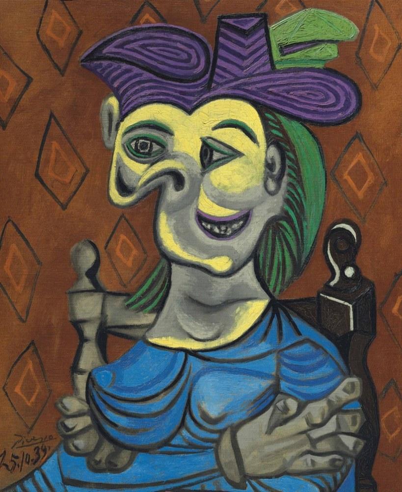 Pablo Picasso Mavi Elbiseli Oturan Kadın, Figür, Pablo Picasso, kanvas tablo, canvas print sales