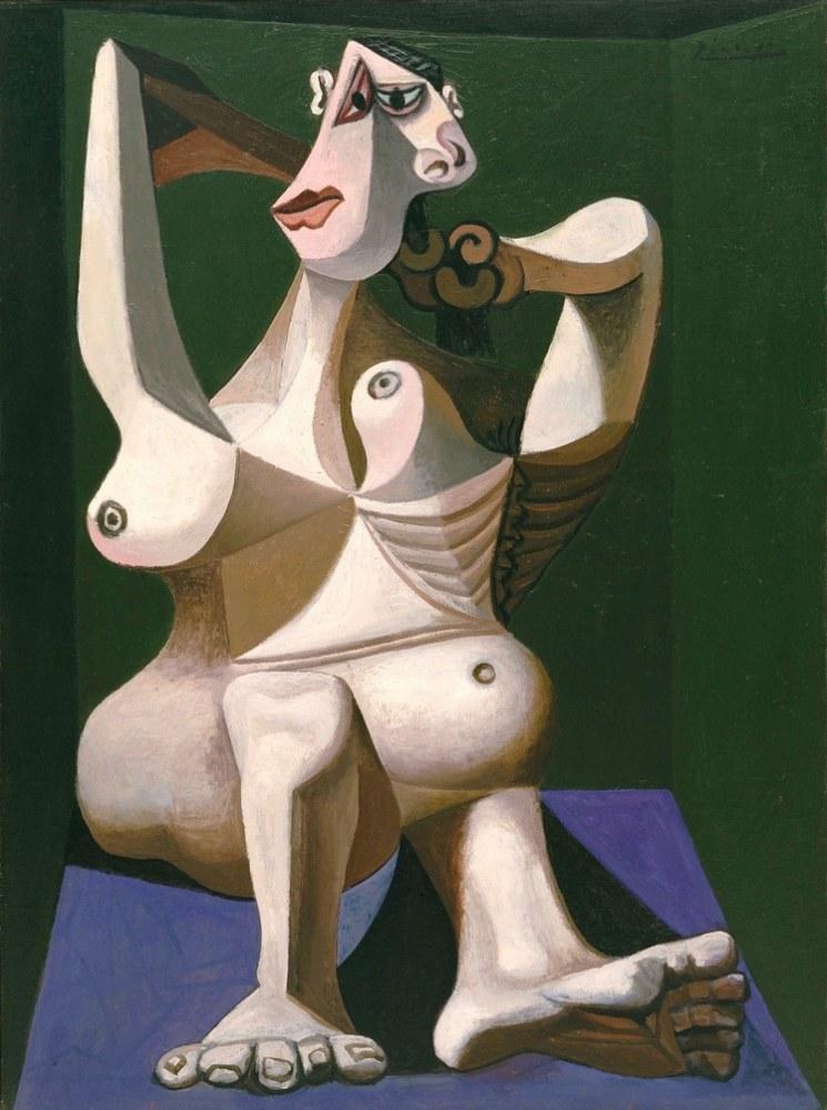 Pablo Picasso Woman Dressing Her Hair, Figür, Pablo Picasso, kanvas tablo, canvas print sales