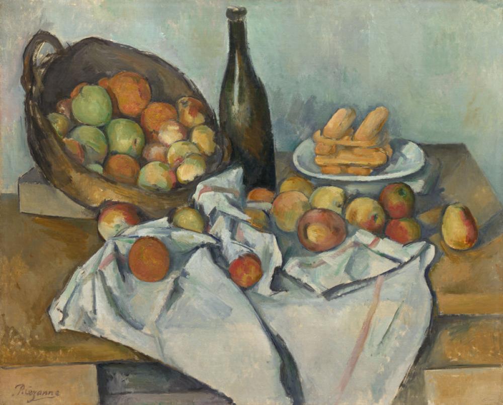 Paul Cezanne Şişe ve Elma Sepetli Natürmort, Kanvas Tablo, Paul Cezanne, kanvas tablo, canvas print sales