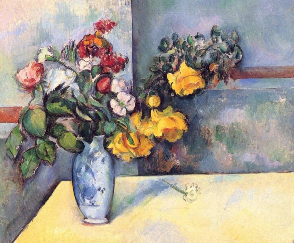 Paul Cezanne Natürmort, bir Vazoda Çiçekler, Kanvas Tablo, Paul Cezanne, kanvas tablo, canvas print sales