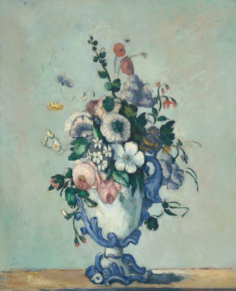 Paul Cezanne Flowers in a Rococo Vase, Canvas, Paul Cezanne, kanvas tablo, canvas print sales