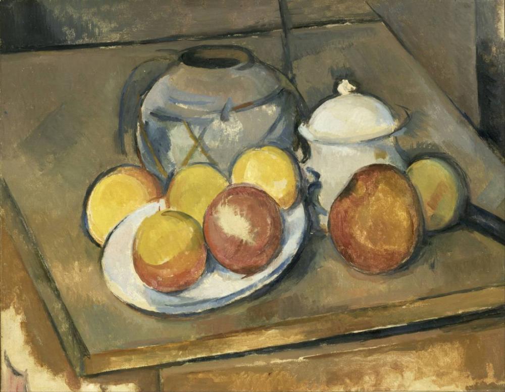 Paul Cezanne Vase, Sugar Bowl and Apples, Canvas, Paul Cezanne, kanvas tablo, canvas print sales