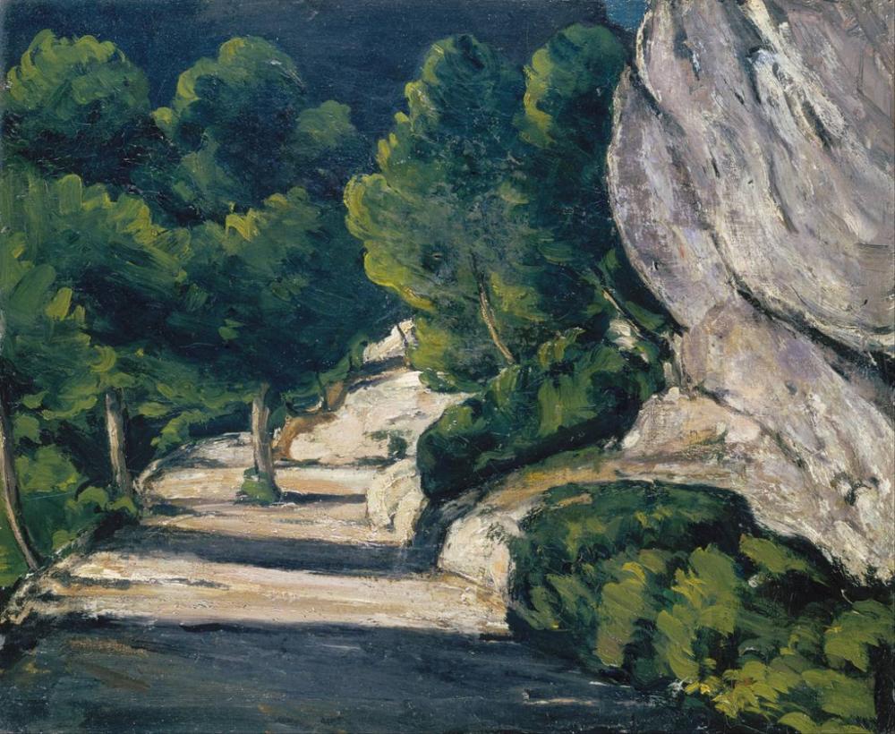 Rocky Dağlarında Ağaçlı yol Manzarası, Kanvas Tablo, Paul Cezanne, kanvas tablo, canvas print sales
