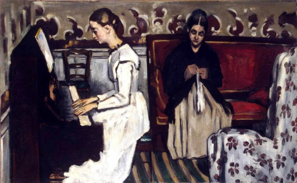 Cezanne Artworks - Girl at the piano, Canvas, Paul Cezanne, kanvas tablo, canvas print sales