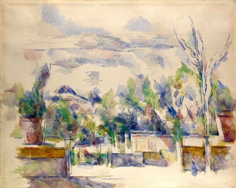 Les Lauves deki Bahçedeki Teras - Cezanne, Kanvas Tablo, Paul Cezanne, kanvas tablo, canvas print sales