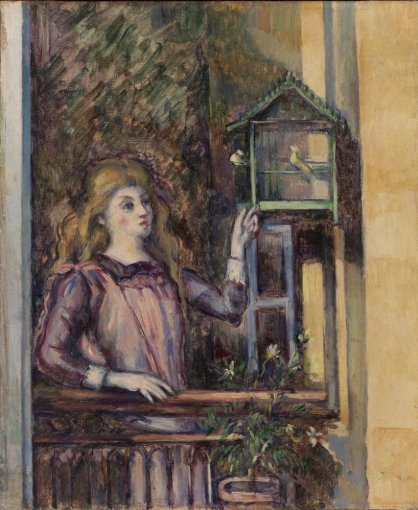 Paul Cezanne Kız ve Kuş kafesi, Kanvas Tablo, Paul Cezanne, kanvas tablo, canvas print sales