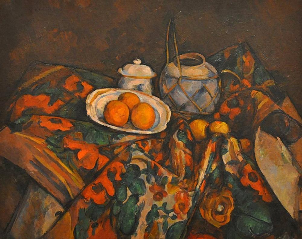 Ginger Jar, Sugar Bowl and Oranges, Canvas, Paul Cezanne, kanvas tablo, canvas print sales