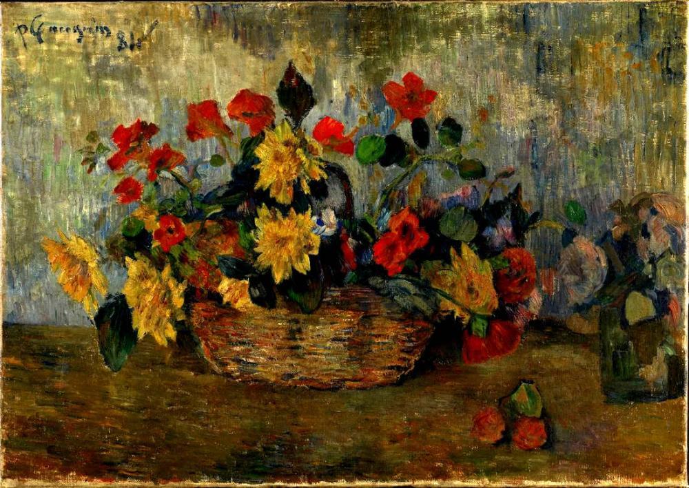 Nasturtiums and dahlias in a basket - Paul Gauguin, Canvas, Paul Gauguin, kanvas tablo, canvas print sales