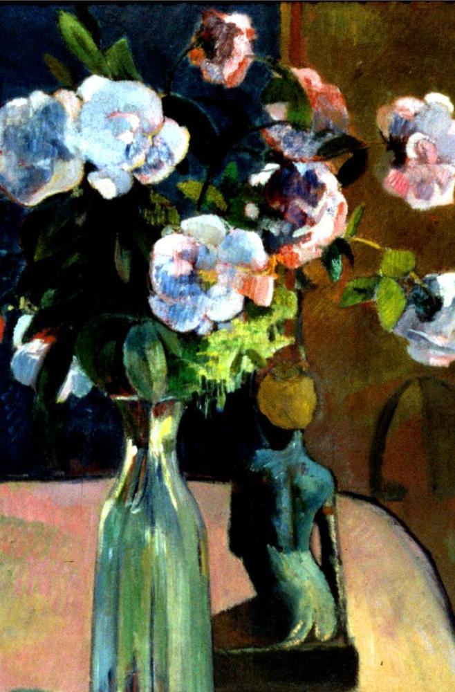 Güller ve heykelcik- Paul Gauguin, Kanvas Tablo, Paul Gauguin, kanvas tablo, canvas print sales