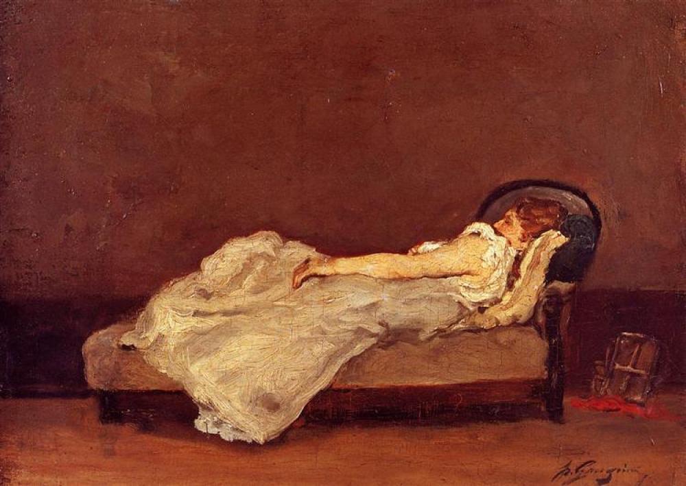 Paul Gauguin Mette A Sleep On A Sofa Oil Painting, Canvas, Paul Gauguin, kanvas tablo, canvas print sales