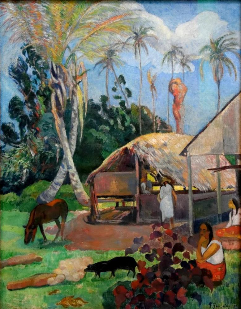 Gauguin Artworks - Black pigs, Canvas, Paul Gauguin, kanvas tablo, canvas print sales
