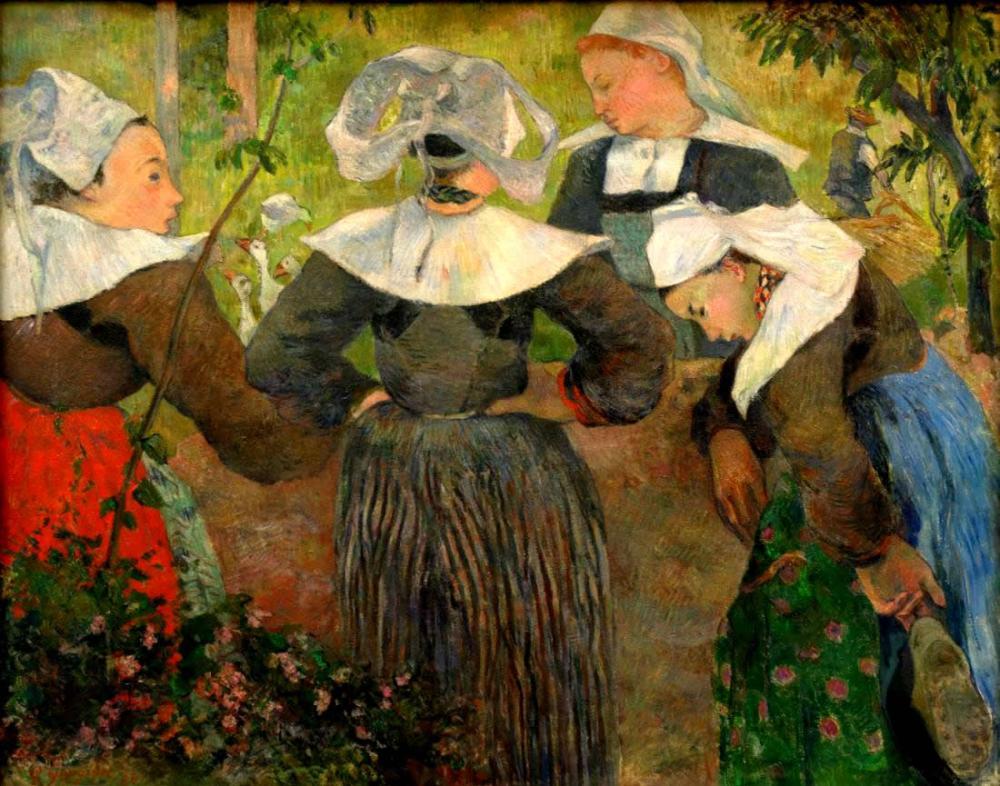 Gauguin Artworks - Four Breton Women, Canvas, Paul Gauguin, kanvas tablo, canvas print sales