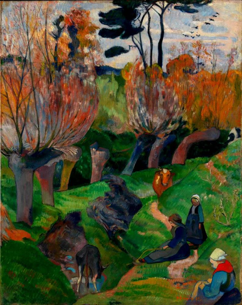 Brittany landscape with cows- Paul Gauguin, Canvas, Paul Gauguin, kanvas tablo, canvas print sales