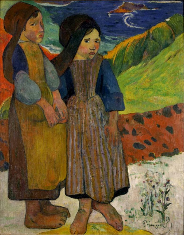 Two Breton Girls- Paul Gauguin, Kanvas Tablo, Paul Gauguin, kanvas tablo, canvas print sales