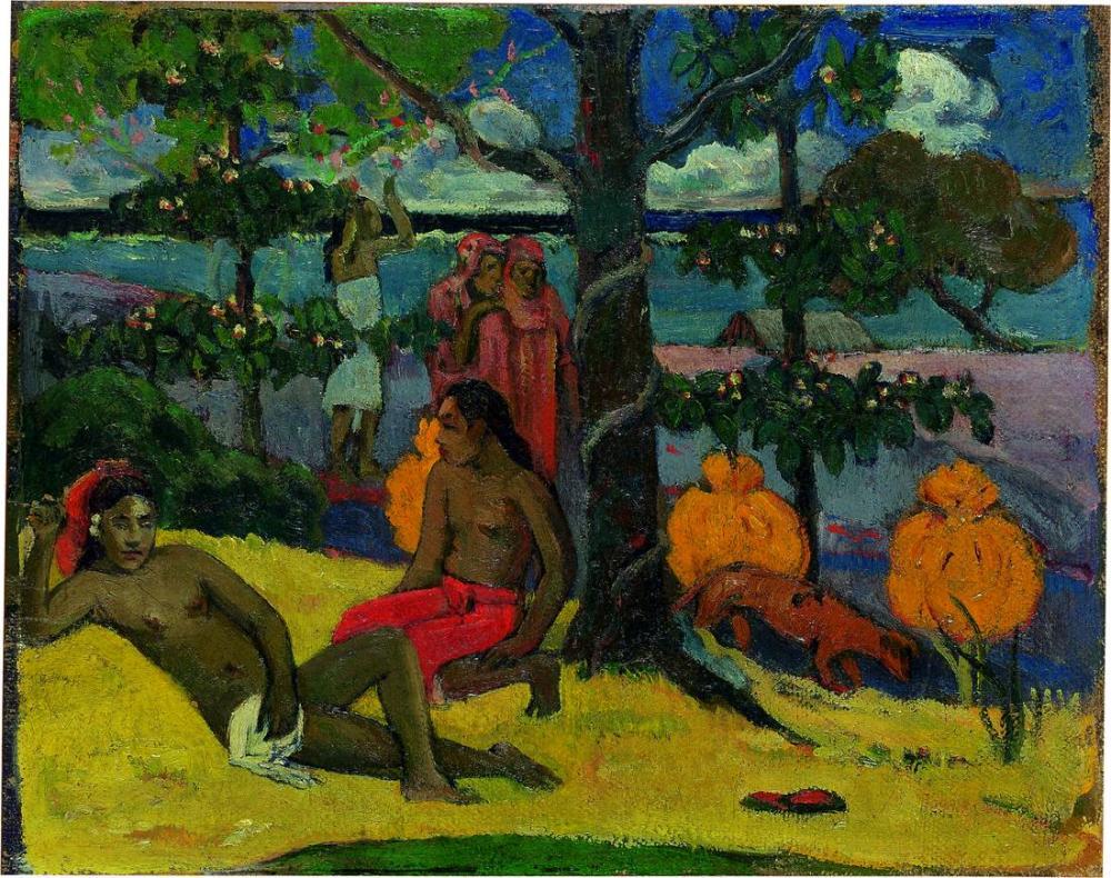 Tahitiden bir manzara- Paul Gauguin, Kanvas Tablo, Paul Gauguin, kanvas tablo, canvas print sales