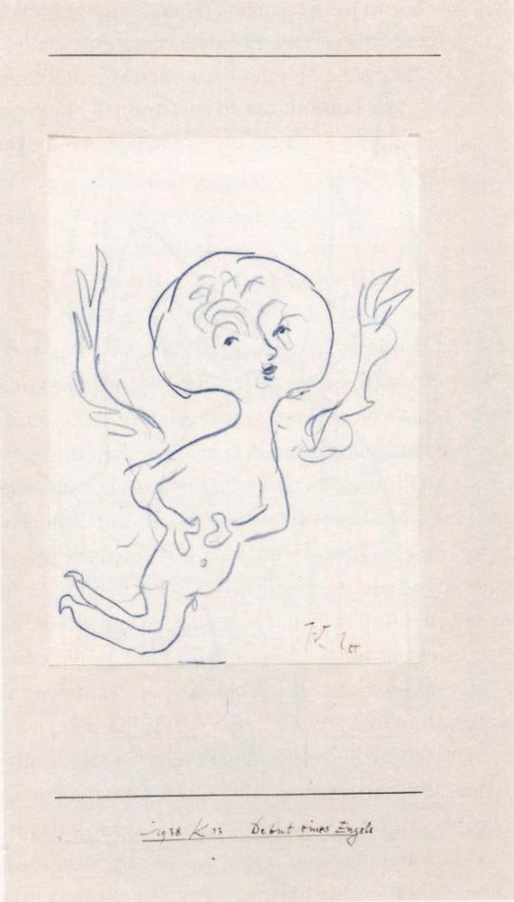 Paul Klee Heavy Beginning Of An Angel, Figure, Paul Klee, kanvas tablo, canvas print sales