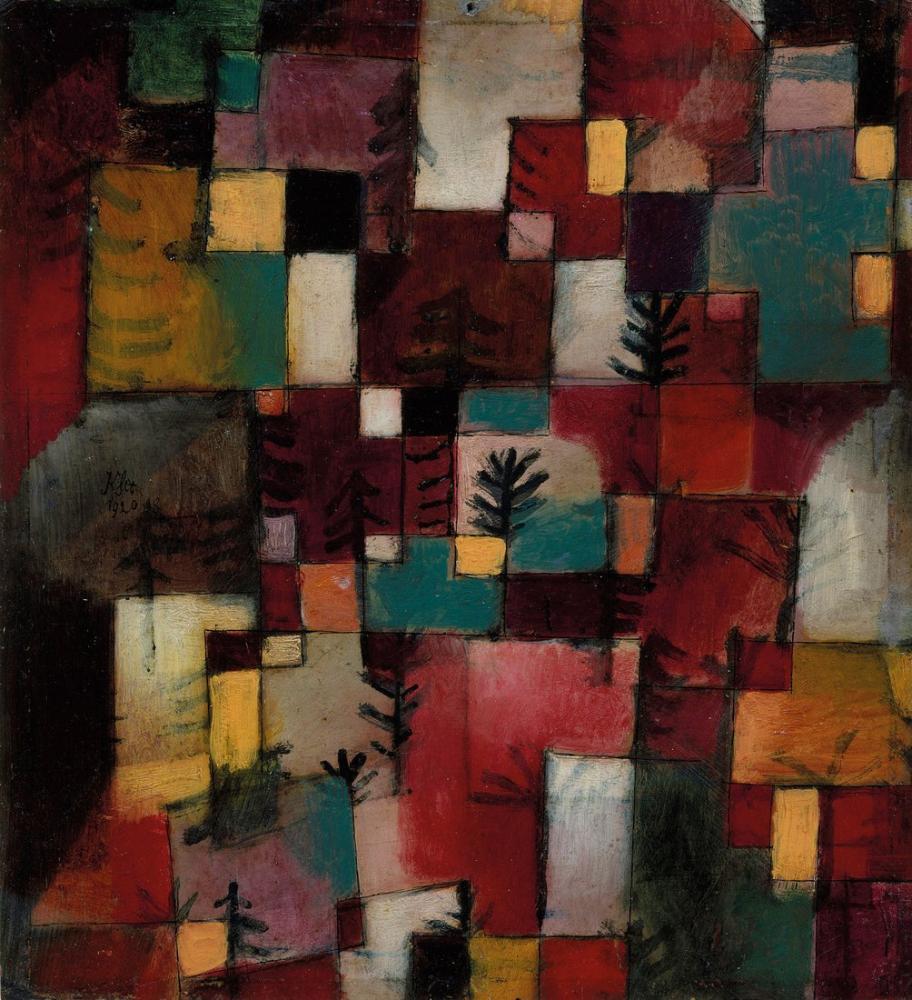 Paul Klee Red Green And Yellow Violet Rhythms, Canvas, Paul Klee, kanvas tablo, canvas print sales