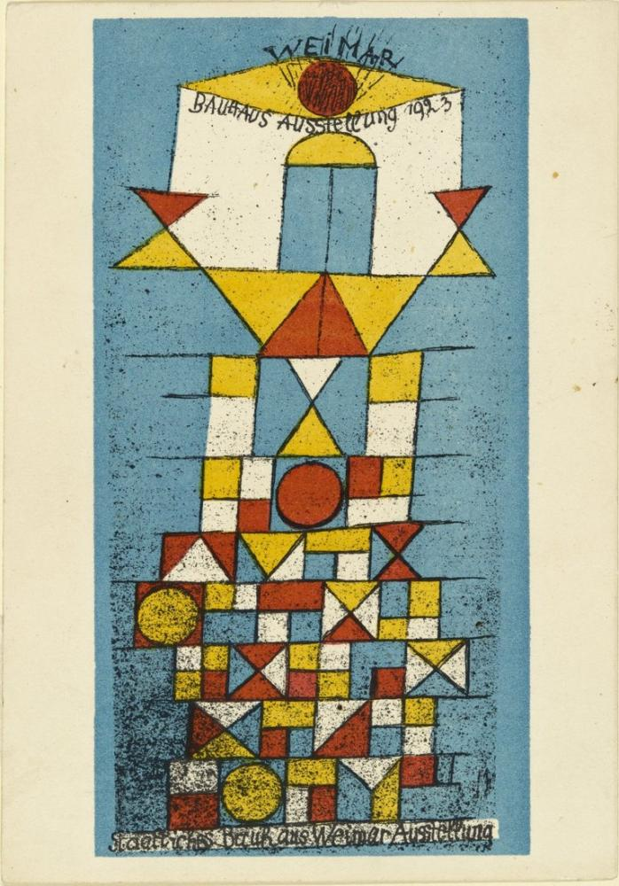 Paul Klee Bauhaus Sergisi Weimar Yüce Taraf Kartpostal 1923, Kanvas Tablo, Paul Klee, kanvas tablo, canvas print sales