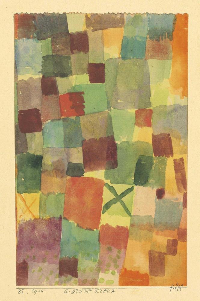 Paul Klee Watercolor with Green Cross, Canvas, Paul Klee, kanvas tablo, canvas print sales