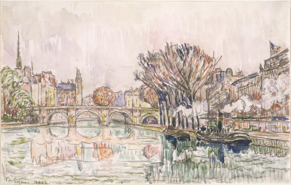Paul Signac Pont Neuf Paris, Kanvas Tablo, Paul Signac, ps108