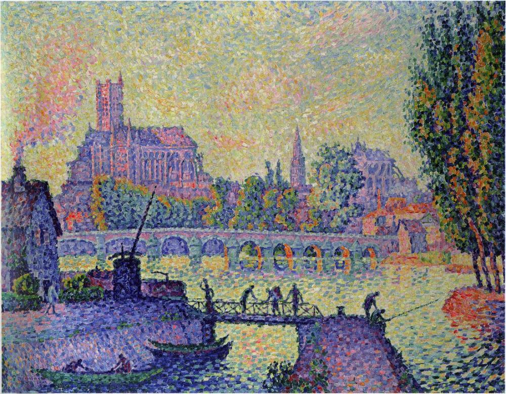 Paul Signac Bridge at Auxerre, Canvas, Paul Signac, kanvas tablo, canvas print sales