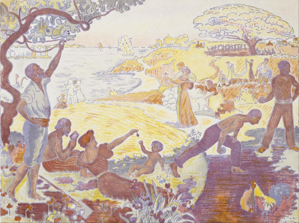 Paul Signac In The Time of Harmony The Joy Of Life Sunday By The Sea, Canvas, Paul Signac, ps126