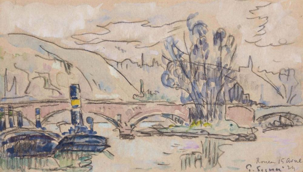 Paul Signac Rouen İçinde Köprü, Kanvas Tablo, Paul Signac, ps157