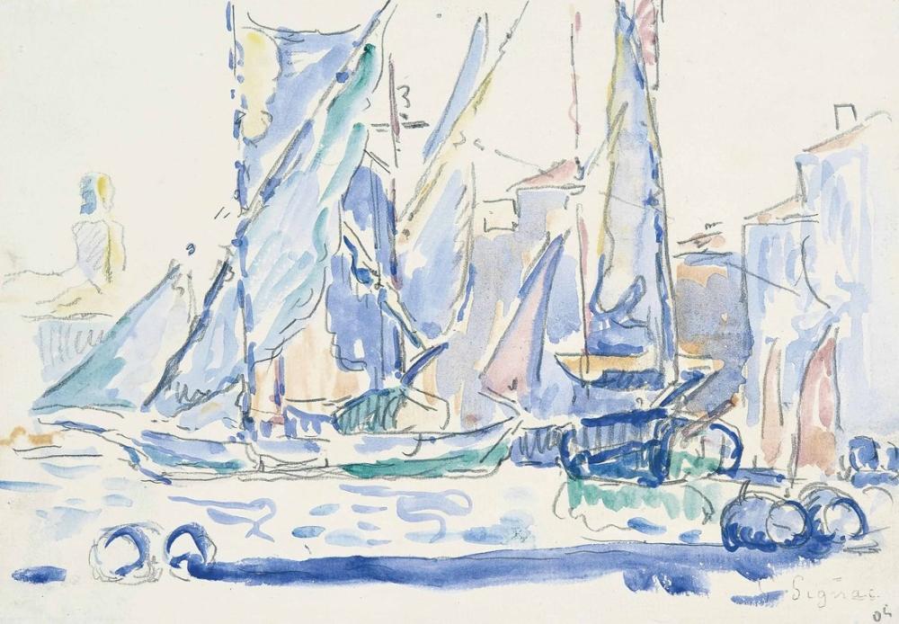 Paul Signac Saint Tropez Limanda Tartanlar, Kanvas Tablo, Paul Signac, kanvas tablo, canvas print sales