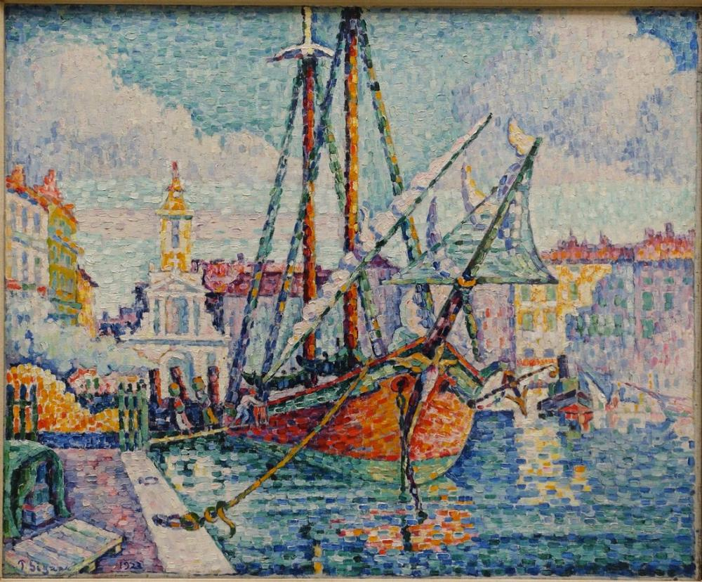 Paul Signac The Orange Boat Marseille, Canvas, Paul Signac, ps20