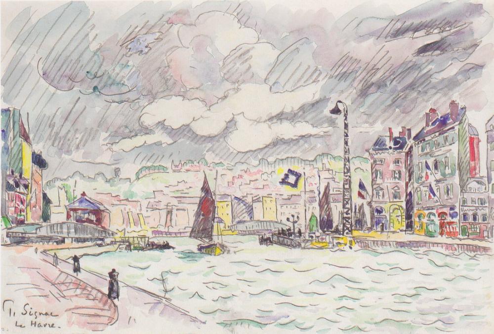 Paul Signac Le Havre İle Yağmur Bulutları, Kanvas Tablo, Paul Signac, kanvas tablo, canvas print sales