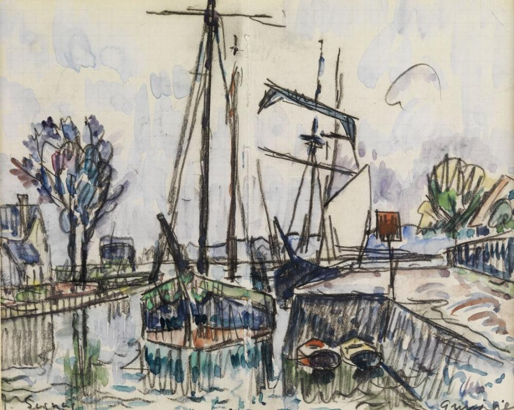 Paul Signac Quimper, Kanvas Tablo, Paul Signac, ps53