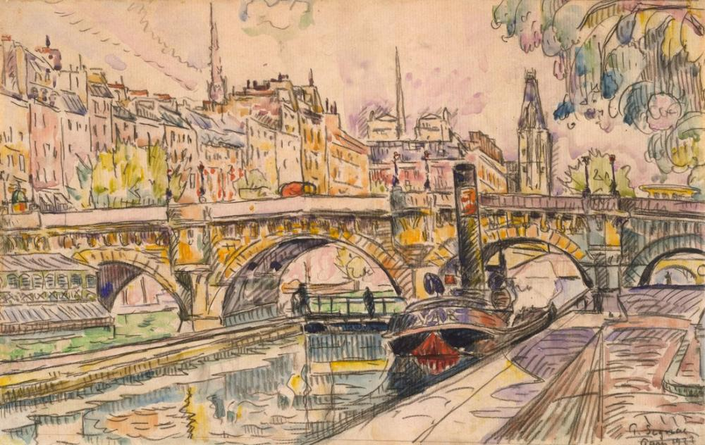 Paul Signac Pont Neuf Römorkör Paris, Kanvas Tablo, Paul Signac, kanvas tablo, canvas print sales