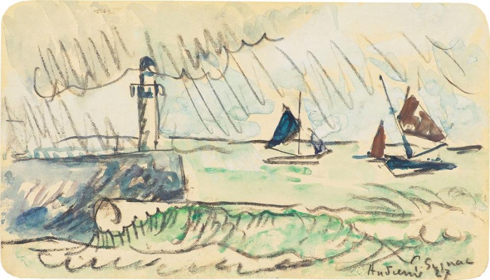 Paul Signac Audierne The Pier In Bad Weather, Canvas, Paul Signac, kanvas tablo, canvas print sales